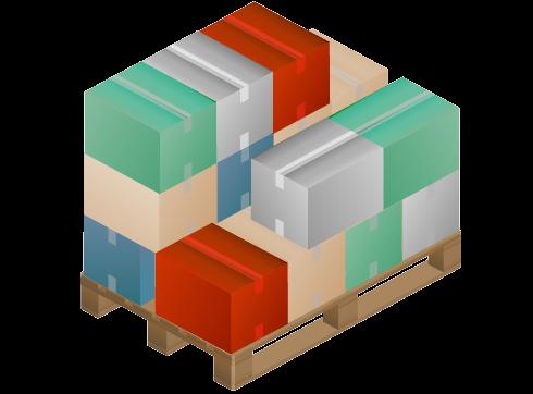 Icono que representa unos palets surtidos